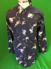 Resistol Rodeo Gear Western Printed Cowboy Button Down Shirt Men's Xl Rough Ride