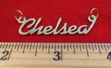 "14KT GOLD EP ""CHELSEA"" PERSONALIZED NAME PLATE WORD CHARM PENDANT 6078"