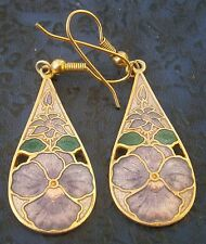 AC170) vintage gold tone Sea Gems metal enamel cloisonné flower hook earrings