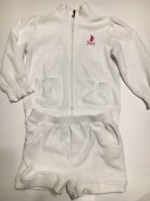 JUICY COUTURE Baby Girls White  Set Jacket  Shorts Sweat Suit 18 24 2