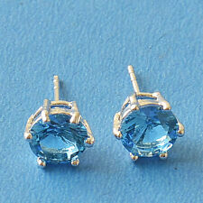 New 9K White Gold Filled 6 Prong Set 7mm Round London Blue CZ Stud Earrings