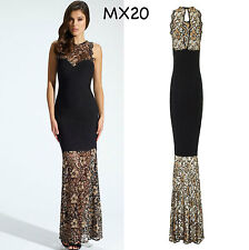 Sz S 8 10 Black Gold Lace Sleeveless Formal Cocktail Gown Party Maxi Long Dress