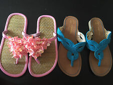 2 pair GIRLS FLIP FLOPS sandals shoes TEAL PINK fancy thong CHEROKEE lot SIZE 13