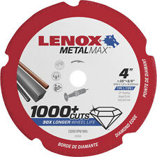 "Lenox 4"" x 3/8"" Hole Metal Max Diamond Edge Cut Off Wheel,1,000+cuts #1972919"