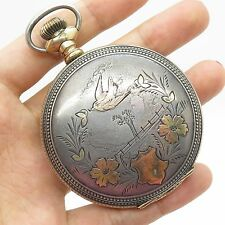 Antq 1910 New York Standard Co 925 Sterling Silver Large Railroad Pocket Watch