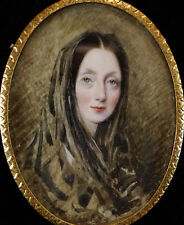 Rare Portrait Miniature of a Young Lady Wearing a Head Scarf