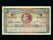 Cyprus:P-22a,5 Shillings,1950 * King George VI * Last Date of Issue *