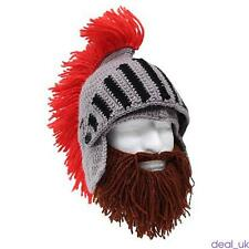 Cavalier Knight Earflap Hat Gray Red Knit/Crochet Helmet for Adults Cosplay