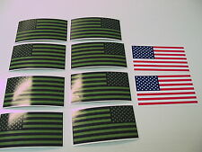 10 OD R&L USA MILITARY FLAG Sticker Decal LOT 4 OD Green Black Infrared American