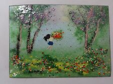 Painted enamel on copper girl in the park signed