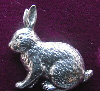 Lovely  Pewter Sitting Rabbit Hunting  Pin Brooch