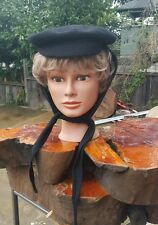 "FRENCH VINTAGE Imported 1960's Small Black Wool Beret Imperial ""French Body"""