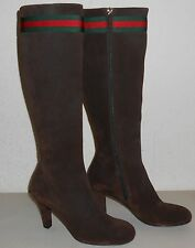 Auth GUCCI Suede Knee-High Boot w/ Signature Web ~ Sz 36 (US 6) ~ $1180 NIB
