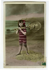 c 1910 Child Children SWIMSUIT GIRL Bathing Suit Seaside Beach photo postcard