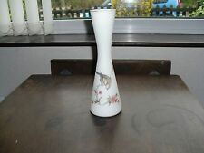 Vintage opaque blanc vase en verre décoré avec oiseaux & fleurs, gilded rim