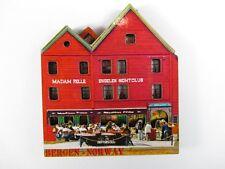 Norwegen Bergen Holz Souvenir Magnet,Norway Skandinavien,Neu