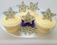 12 Vintage Christmas Holly Berries Pattern Star Rice Wafer Paper Cupcake Toppers
