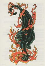 """CAT PANTHER JAGUAR COUGAR FIRE TEMPORARY TATTOO * 3.5"""" X 2.5"""" * MADE IN THE USA"""