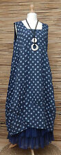 LAGENLOOK LINEN LOVELY DOTS 2 POCKETS LONG TUNIC-DRESS*NAVY*SIZE XL-XXL BUST 52""