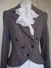 TWEED CHECKED FITTED JACKET Equestrian Riding Country Style Edwardian UK 10 12