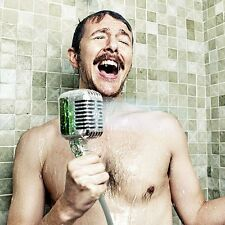 MICROPHONE SHOWER HEAD NOVELTY SINGING FUN GIFT RETRO CHROME BATH ROOM NEW