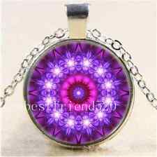 Purple Mandala Cabochon Glass Tibet Silver Chain Pendant  Necklace
