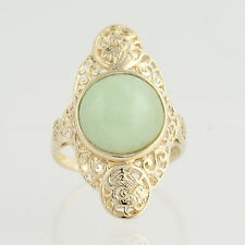 Jadeite Cocktail Ring - 14k Yellow Gold Solitaire Wealth, Luck Fine 5.84ctw
