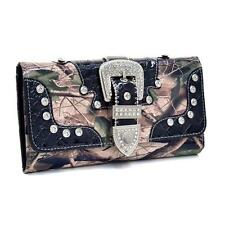 PATENT CAMO BLACK BLING RHINESTONE BELT BUCKLE WESTERN LADIES TRIFOLD WALLET