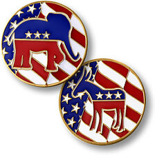 Political Flip - Donkey / Elephant   Democrat or Republican - Challenge Coin