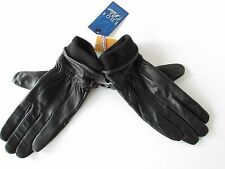 $100 Auclair Glace Women's  Black Leather Fleece-Lined Gloves, size M  NEW