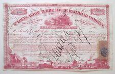 St Louis Alton & Terre Haute RR Stock 1867 RN44