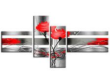 Tableau abstrait moderne décoration murale toile roses ( BP1209R ) 140x70 cm