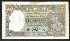 INDIA Paper Money - Old 5 Rupees Note - 1937 - P35a - F/VF