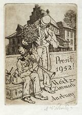 MARTIN ERICH PHILIPP / MEPH - Musikanten mit Blumenstrauß - Radierung 1951