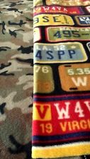 LICENSE PLATES CAMO FLEECE BLANKET HAND TIED 54 X 64 AFGHAN THROW TRAVEL MENS
