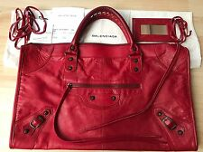 "RARE 100% Authentic BALENCIAGA RHW 2006 ""Rouge Vif"" Red Work Bag Purse Tote"