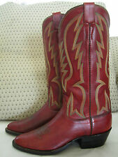 Rare Vintage OLSEN-STELZER Cowboy Boots - Saddle red color!!  sz 9 plus/minus