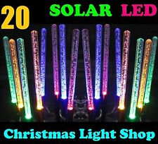 20 Colour Changing SOLAR LED Bubble Tubes Outdoor Christmas Party Path Lights