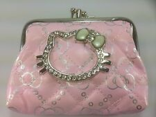 Hello Kitty Coin Purse Double Pocket Ball Clasp Pink Wallet Bling Cute Pouch NEW