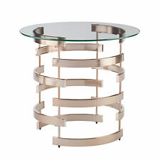MET23045 CHAMPAGNE BRASS / GLASS ROUND END TABLE