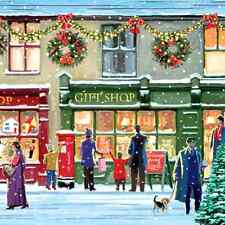 Christmas 20 Paper Lunch Napkins WINTER SHOPWINDOW Colourful Snow Winter / D