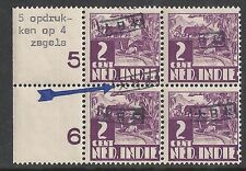 Japanese Occupation of Sumatra 2c Bloc of 4 and 5!! overprints  MNH  VF