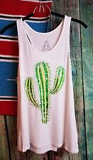 COWGIRL gypsy CACTUS BOHO Tank Top Ivory Shirt Western Desert SMALL