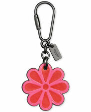 NWT COACH BOXED PINK DAHLIA LEATHER FLOWER BAG CHARM KEY RING CHAIN 65719B