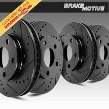 FRONT & REAR BLACK DRILLED SLOTTED BRAKE ROTORS Honda Civic Acura Integra