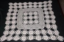 """SMALL VINTAGE CROCHET LACE TABLE CLOTH in BEIGE 23"""" x 23"""""""