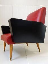 SUPERBE FAUTEUIL ROUGE & NOIR TYPIQUE 1950 VINTAGE 50's ROCKABILLY CHAIR