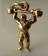 """VINTAGE 9 ct GOLD """" WEIGHT LIFTER / BODY BUILDER """" CHARM"""