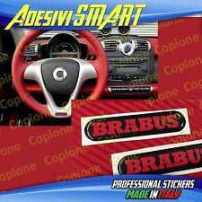 2 Adesivi Resinato Sticker 3D BRABUS Smart Nero & Rosso Volante