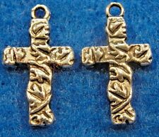 50Pcs. WHOLESALE Tibetan Silver CROSS Charms Pendants Earring Drops Q0592